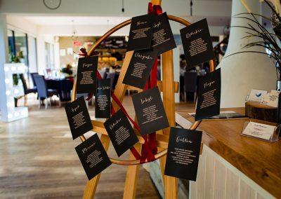 Tablica z usadzeniem gości na weselu